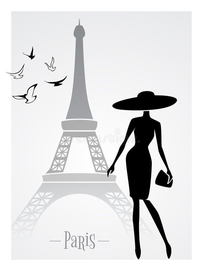 Модная дама перед Эйфелева башней иллюстрация вектора