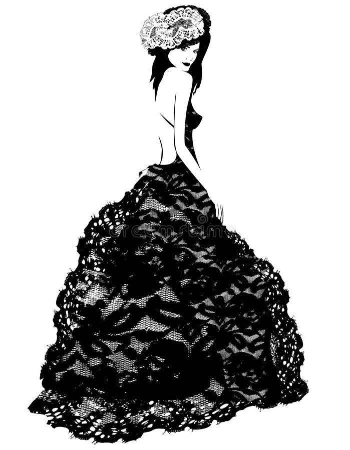 Модная женщина в платье и шляпе шнурка иллюстрация штока