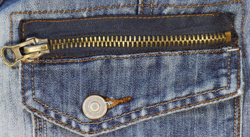 Молния металла на джинсах стоковое изображение
