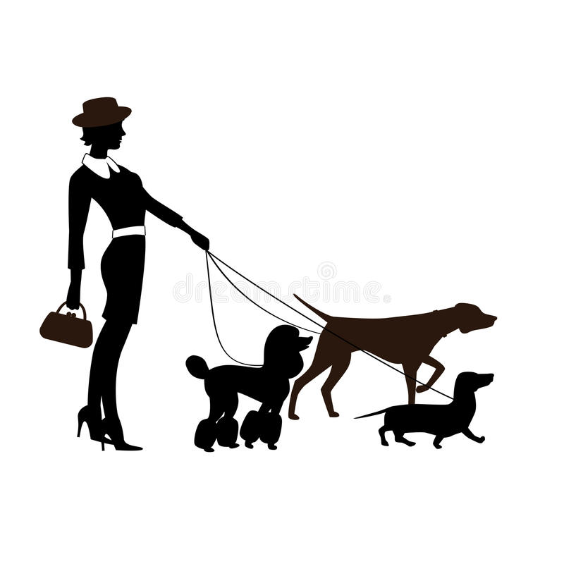 Модно одетая девушка с собаками родословной бесплатная иллюстрация
