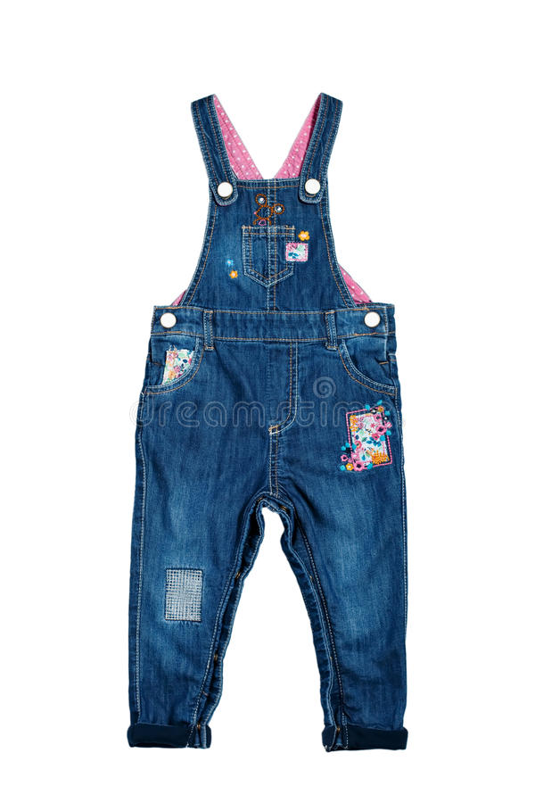 Модные прозодежды джинсовой ткани для ребёнка с цветочными узорами стоковое фото rf