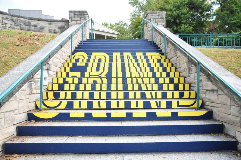 Молотилка слова на лестнице реки Мемфиса подходящей, городском Мемфисе, TN стоковые фото