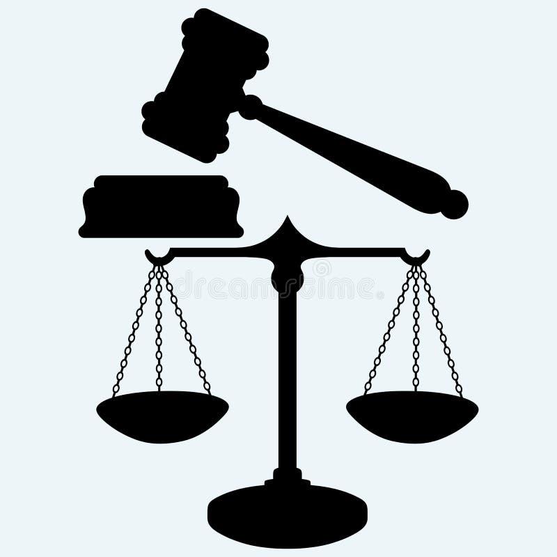 Молоток масштаба и судьи иллюстрация вектора