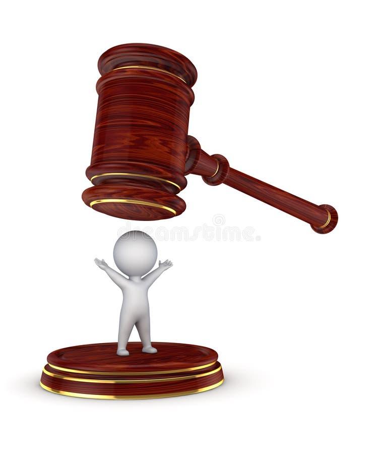 молоток персоны 3d и юриста иллюстрация вектора