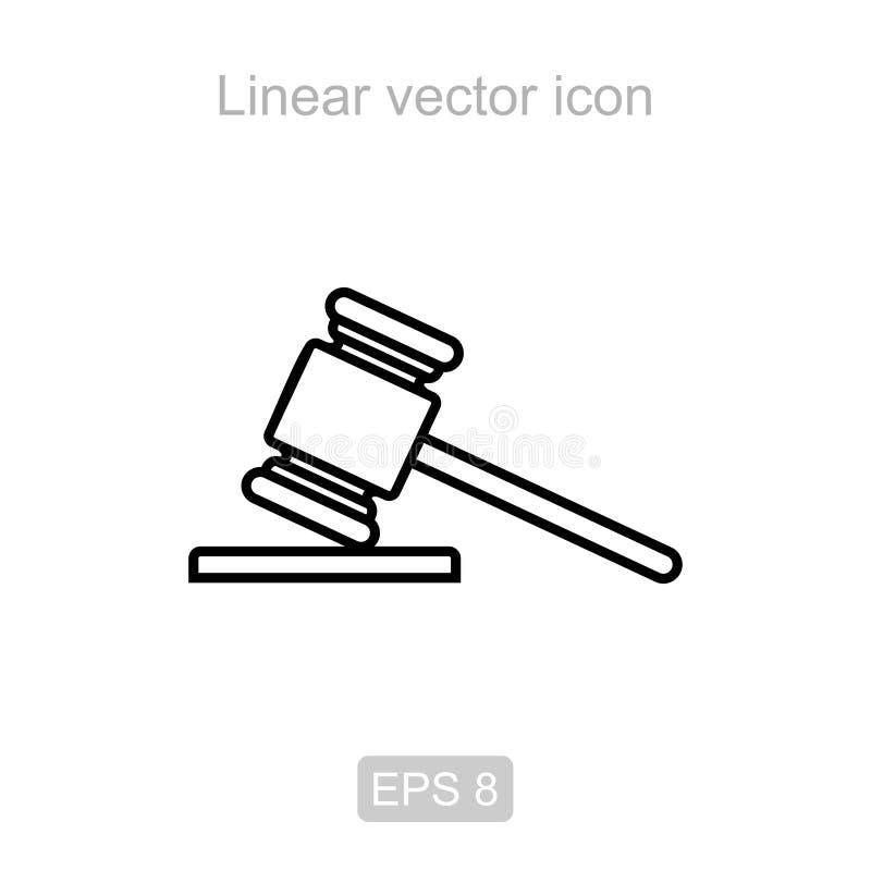 молоток суда Линейный значок вектора иллюстрация вектора