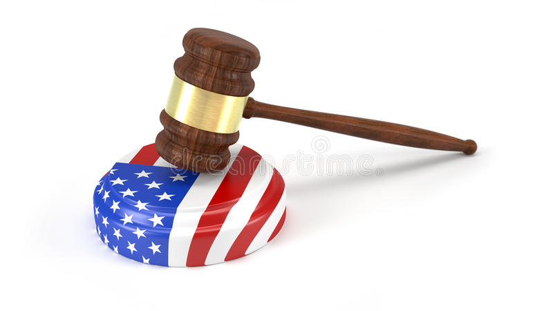 Молоток судьи с американским флагом стоковая фотография