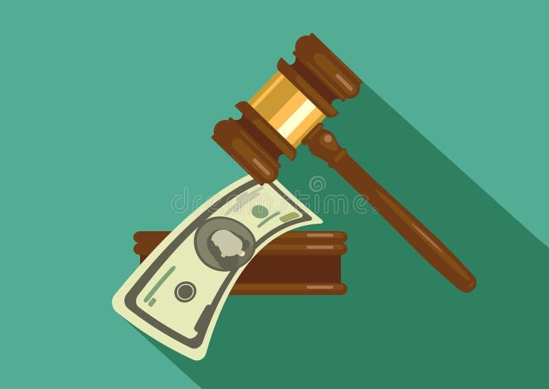 Молоток судьи с деньгами иллюстрация вектора