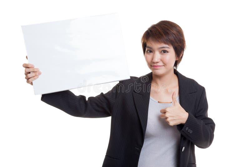 Download Молодая азиатская выставка бизнес-леди Thumbs вверх с белым пустым знаком Стоковое Изображение - изображение насчитывающей девушка, персона: 81811919