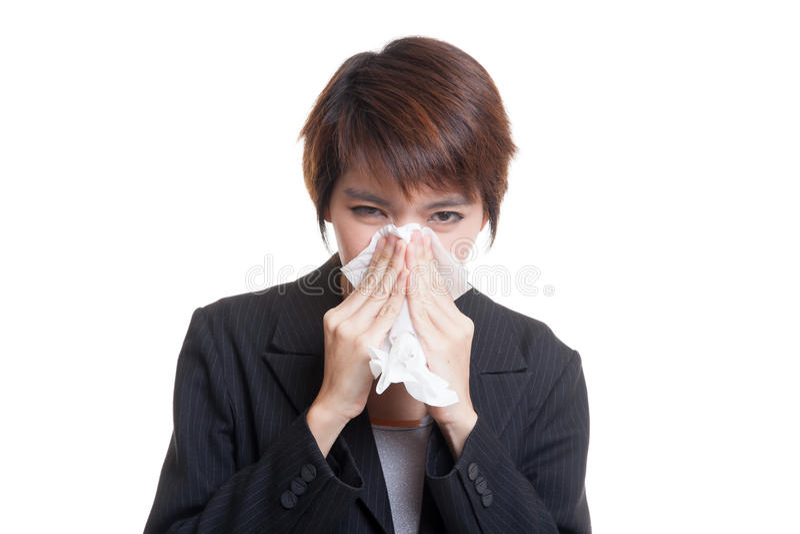 Download Молодая азиатская женщина получила больной и гриппом Стоковое Фото - изображение насчитывающей костюм, головка: 81812000