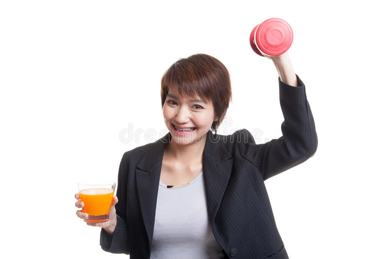 Download Молодая азиатская женщина с апельсиновым соком питья гантели Стоковое Фото - изображение насчитывающей офис, плодоовощ: 81812138