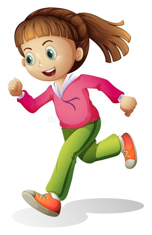 Молодая дама jogging иллюстрация вектора
