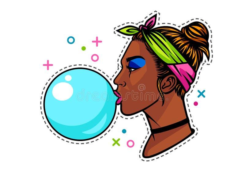 Молодая афро американская девушка с жевательной резинкой бесплатная иллюстрация