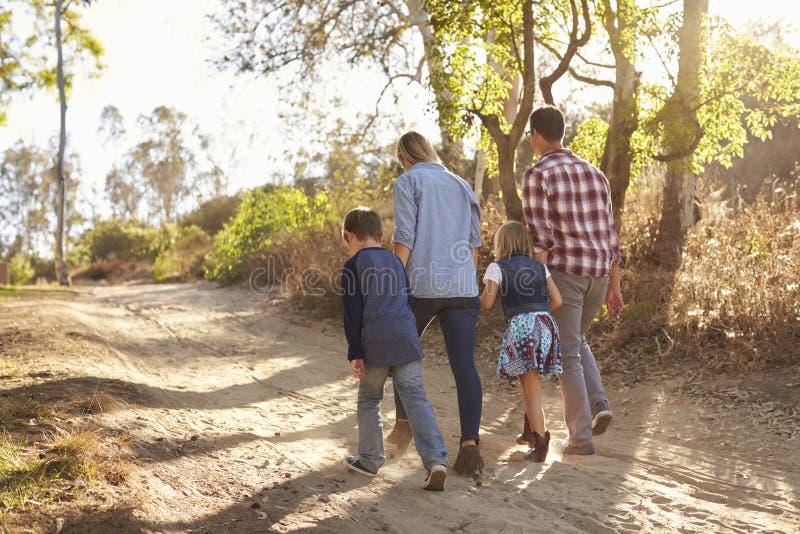 Молодая белая семья идя на путь в солнечном свете, заднем взгляде стоковые изображения