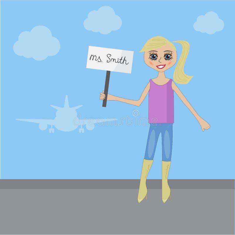 Молодая белокурая девушка встречает бизнесмена на авиапорте бесплатная иллюстрация