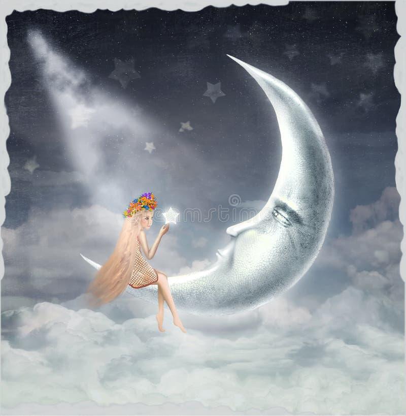 Молодая белокурая девушка сидя на луне бесплатная иллюстрация
