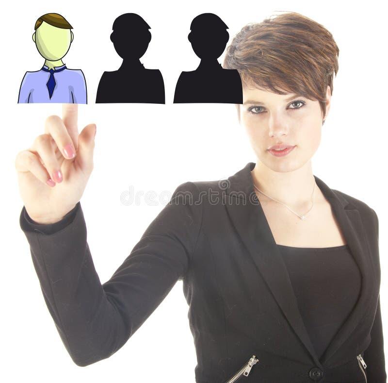 Молодая бизнес-леди выбирая виртуальных друзей стоковое изображение rf