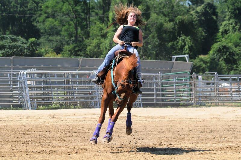Молодая взрослая женщина ехать bucking лошадь стоковая фотография rf