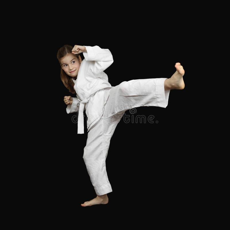 Молодая девушка карате стоковое изображение rf