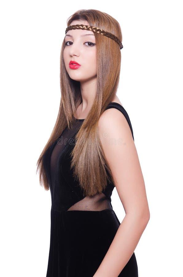 Молодая девушка redhead в платье бархата изолированном дальше стоковые изображения rf