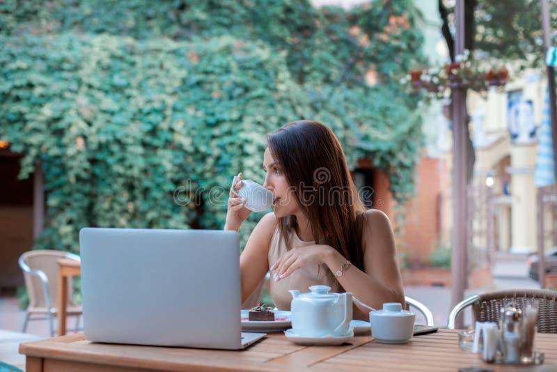Молодая женщина брюнет выпивает чай стоковые фото