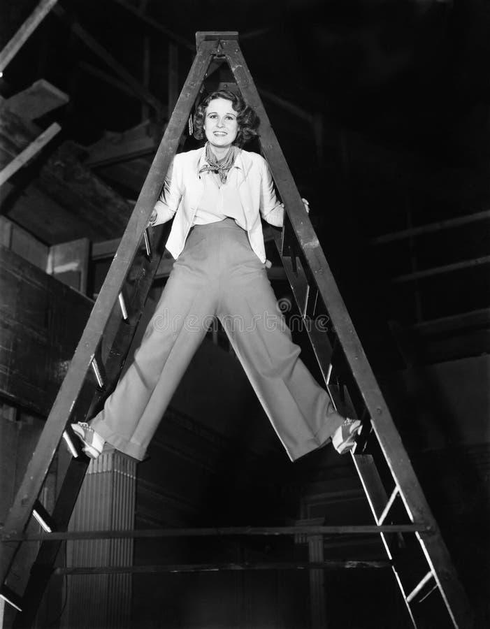 Молодая женщина взбирается лестница к верхней части (все показанные люди более длинные живущие и никакое имущество не существует  стоковые изображения rf