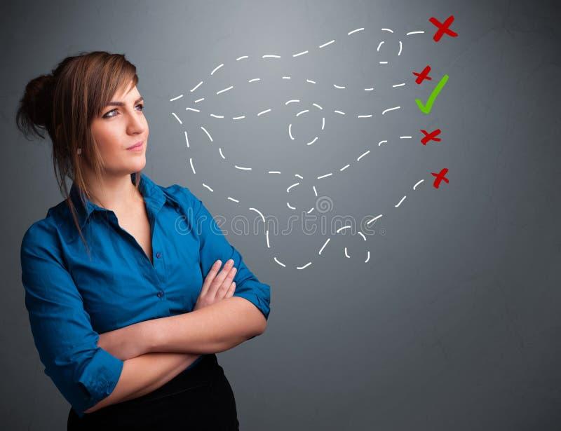 Молодая женщина выбирая между правыми и неправильными знаками иллюстрация штока