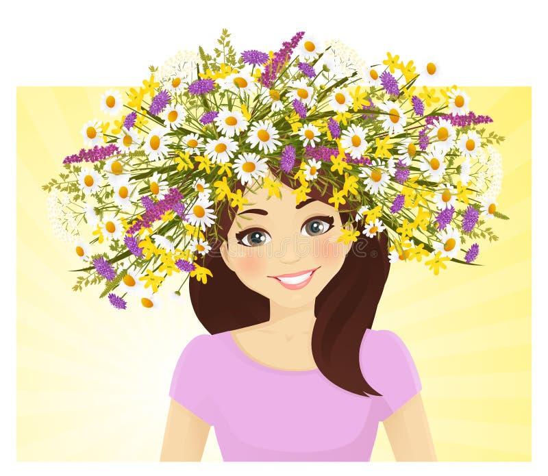 Молодая женщина в венке полевого цветка иллюстрация вектора