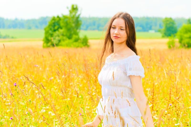 Молодая женщина в желтом поле цветка стоковые фотографии rf