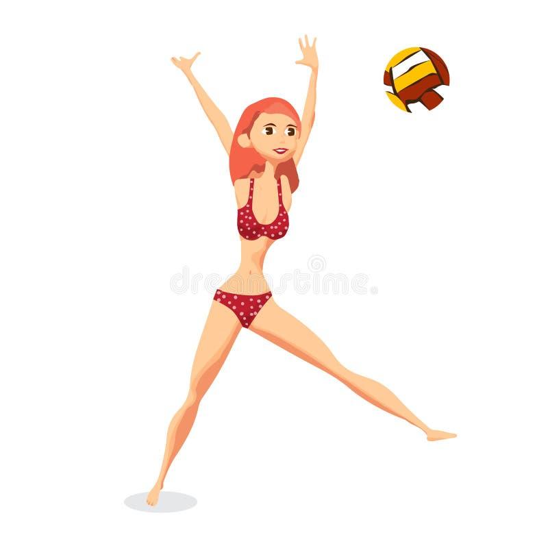 Молодая женщина в красном бикини играя волейбол на пляже иллюстрация штока