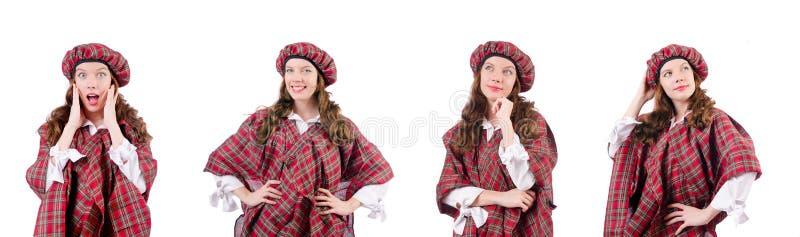 Молодая женщина в традиционной шотландской одежде стоковое фото rf