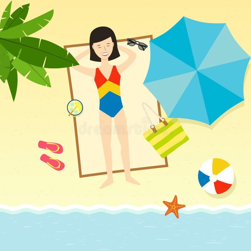 Молодая женщина лежа на пляже иллюстрация штока