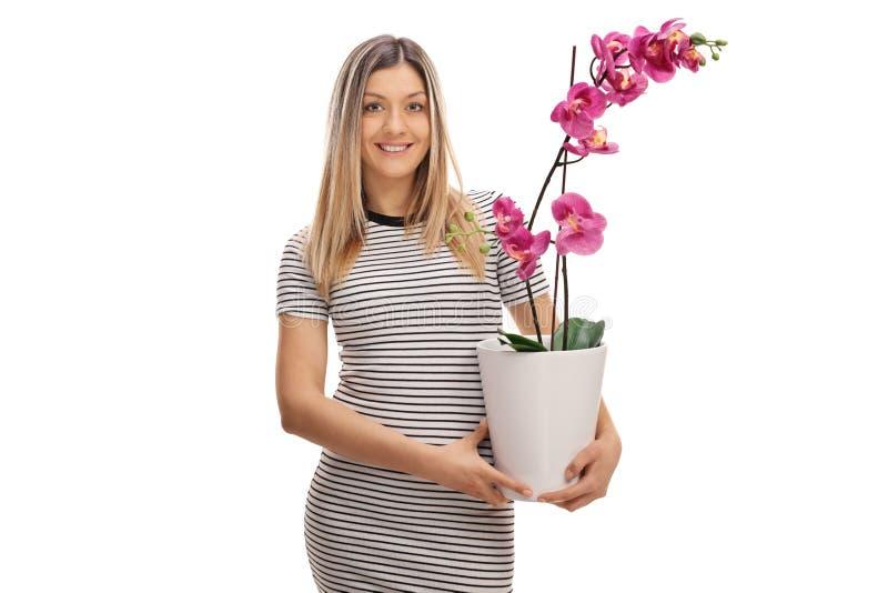 Молодая женщина держа цветок орхидеи в баке стоковые изображения rf