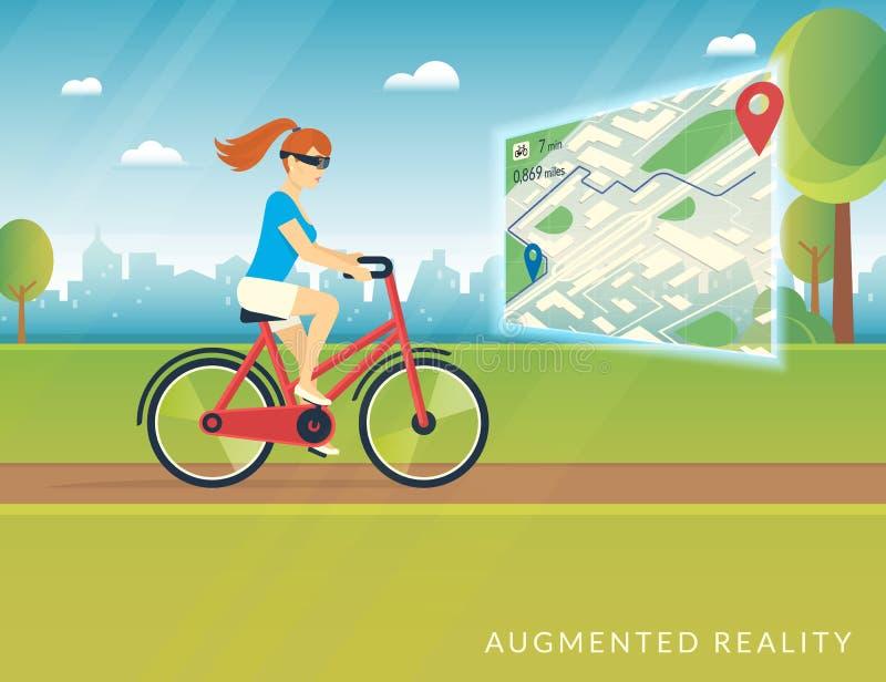 Молодая женщина ехать велосипед и видя путь велосипеда на черни увеличила карту реальности иллюстрация штока