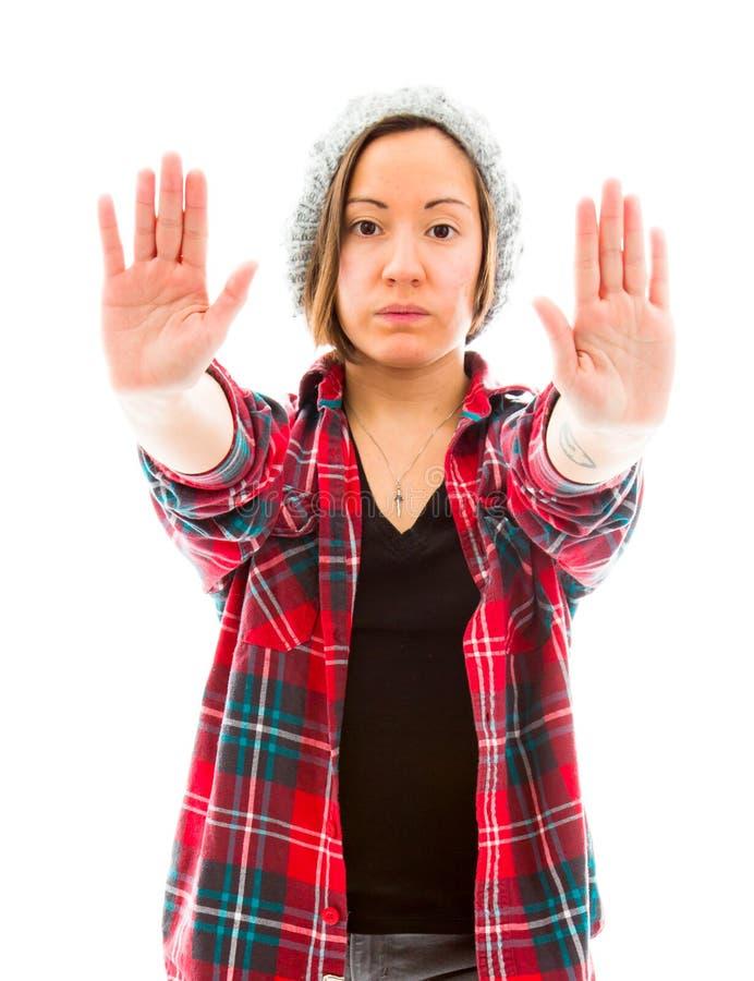 Download Молодая женщина делая знак жеста стопа Стоковое Фото - изображение насчитывающей проверено, сброс: 41650924