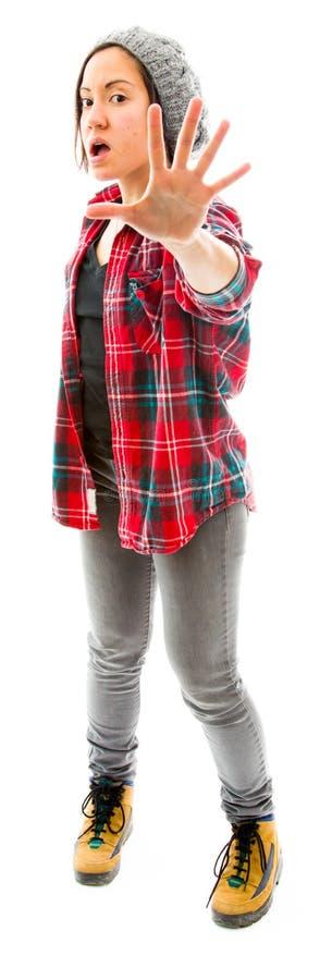Download Молодая женщина делая знак жеста стопа Стоковое Изображение - изображение насчитывающей останавливать, джинсыы: 41651453