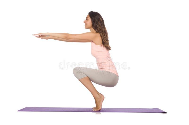 Молодая женщина делая изолированные тренировки спорта стоковые изображения rf
