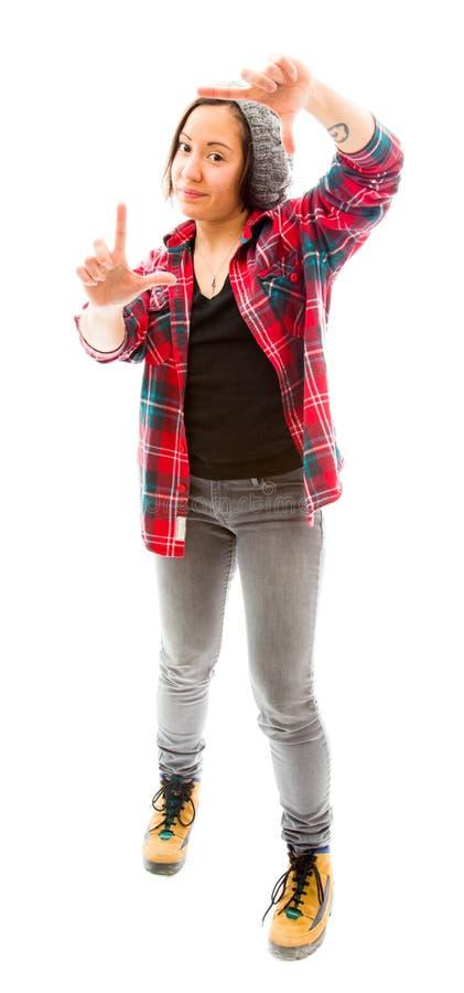 Download Молодая женщина делая рамку с перстами Стоковое Фото - изображение насчитывающей рубашка, lifestyles: 41651604