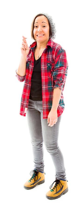 Download Молодая женщина желая с пальцами скрещивания Стоковое Фото - изображение насчитывающей желание, вертикально: 41650660