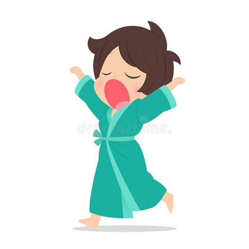Молодая женщина зевая, иллюстрация бесплатная иллюстрация