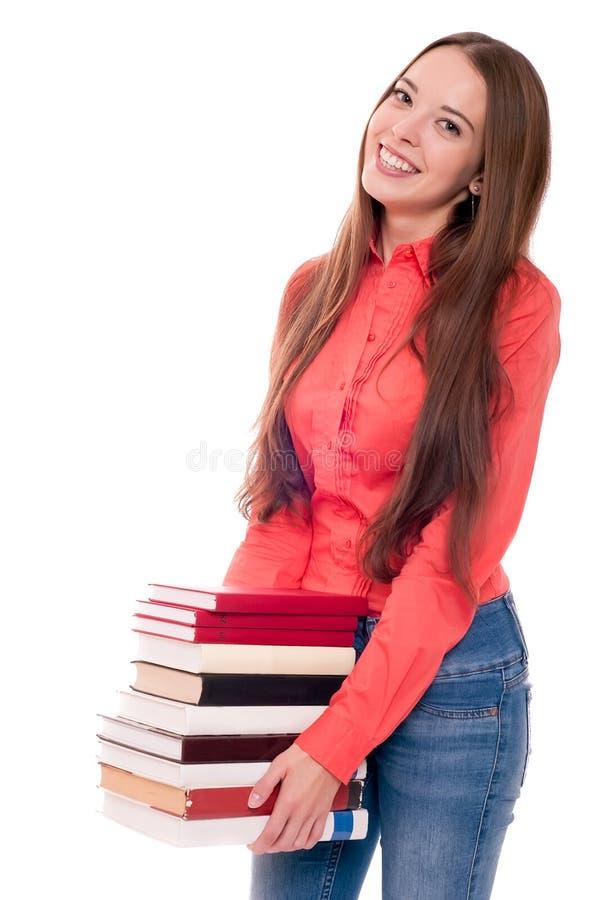 Молодая женщина изолированная на белизне стоковое изображение rf