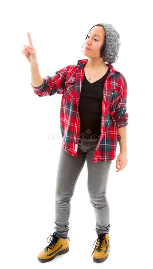 Download Молодая женщина используя виртуальный экран скульптуры Стоковое Фото - изображение насчитывающей футуристическо, иллюзион: 41651648