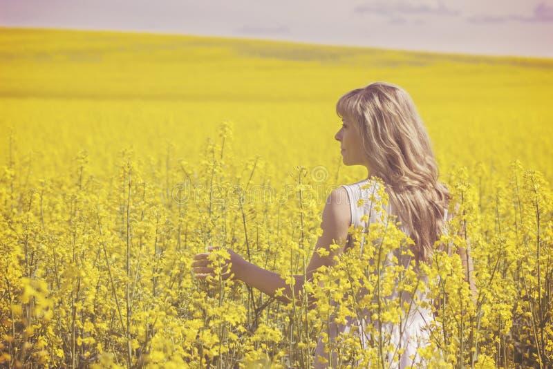 Молодая женщина наслаждаясь природой и солнечным светом в канола поле, заднем взгляде стоковое фото rf