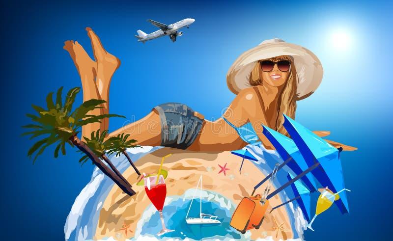Молодая женщина на солнечном пляже бесплатная иллюстрация