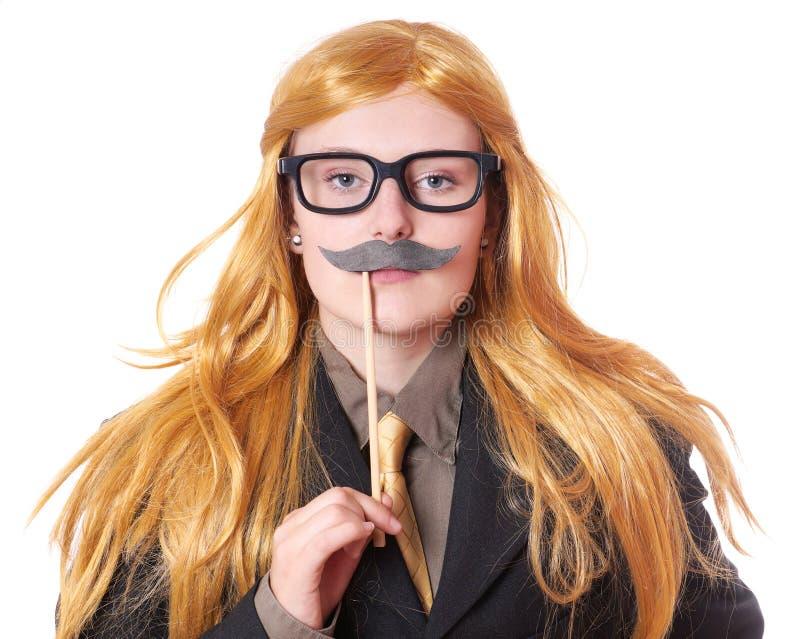 Молодая женщина одеванная как человек стоковая фотография