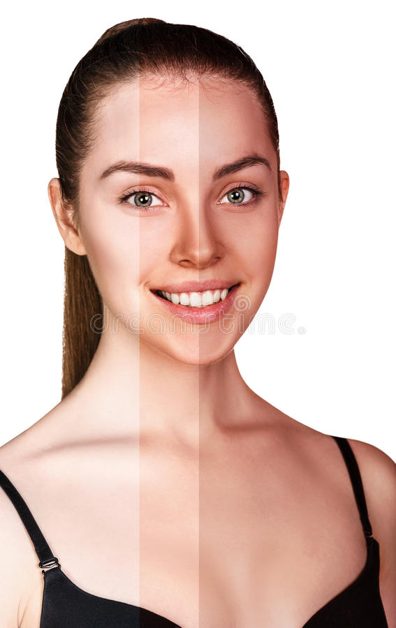 Молодая женщина перед и после загорать стоковые изображения