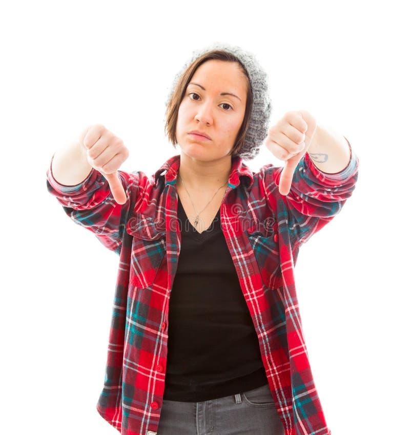 Download Молодая женщина показывая большие пальцы руки вниз подписывает Стоковое Фото - изображение насчитывающей сброс, неоказание: 41650494