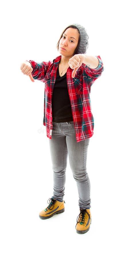 Download Молодая женщина показывая большие пальцы руки вниз подписывает Стоковое Фото - изображение насчитывающей рубашка, склонение: 41650876