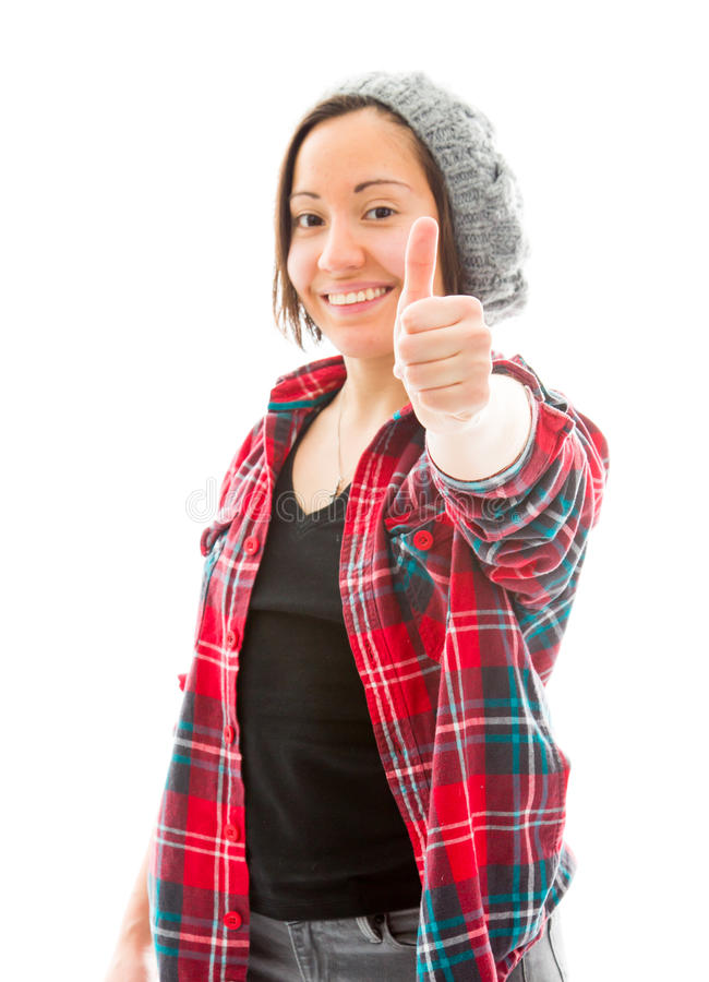 Download Молодая женщина показывая большие пальцы руки поднимает знак и усмехаться Стоковое Изображение - изображение насчитывающей женщина, усмехаться: 41650801