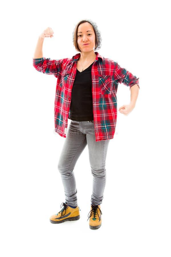 Download Молодая женщина показывая ее мышцу Стоковое Изображение - изображение насчитывающей благополучие, доверие: 41650647