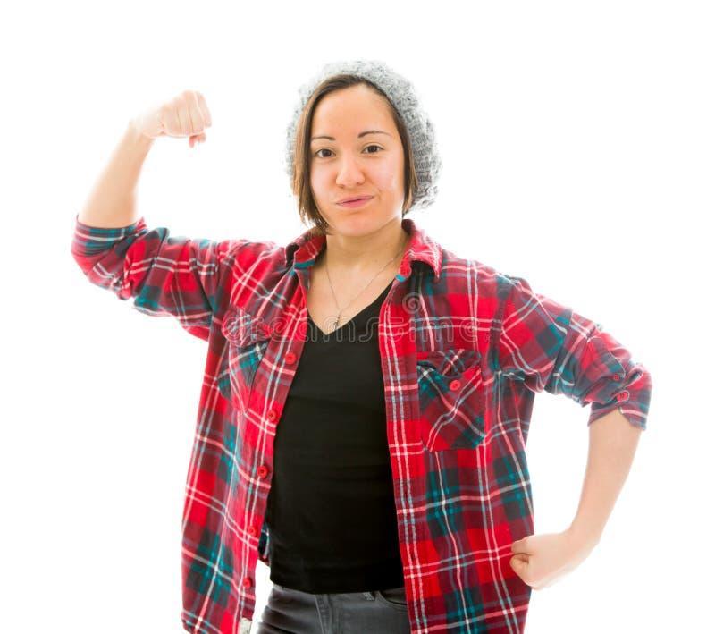 Download Молодая женщина показывая ее мышцу Стоковое Фото - изображение насчитывающей ориентации, показ: 41651254